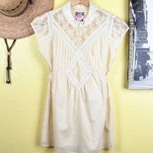 Free People Lace Peasant Blouse Cream Size 2